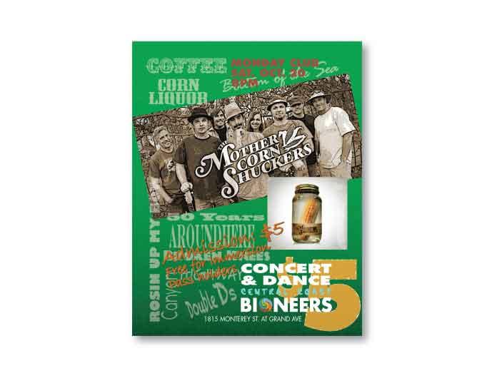 creative design graphics corn shuckers promo postcard